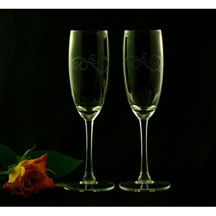 Grawerowane kieliszki do szampana - ornament
