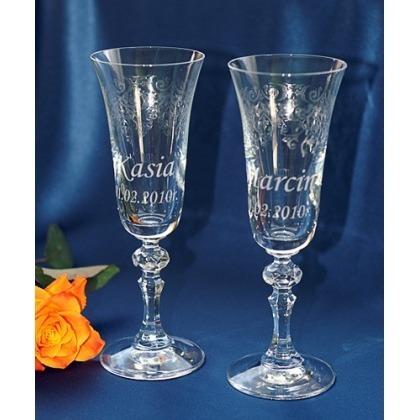 Ślubne kieliszki do szampana z grawerem