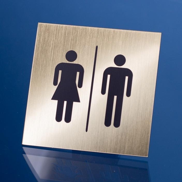 Grawerowana tabliczka wc - kwadrat 10x10 cm