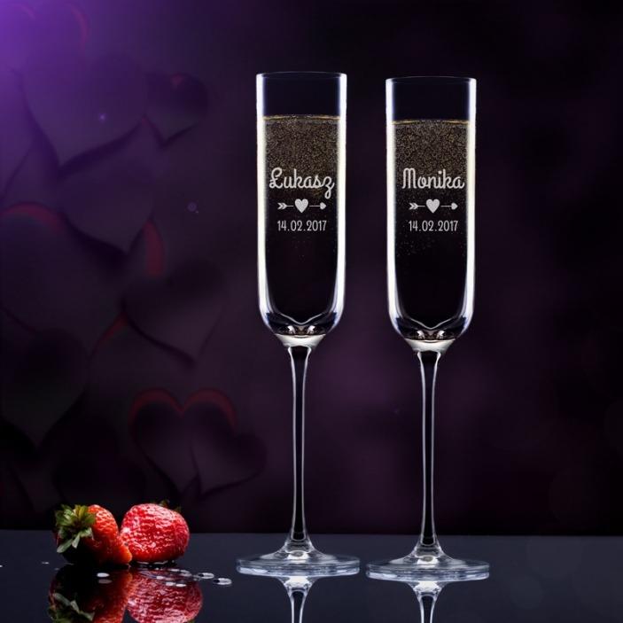 Ona i on - grawerowane kieliszki do szampana
