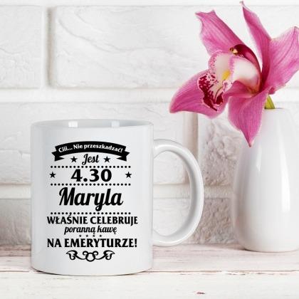 Celebruje kawę - kubek personalizowany dla emeryta