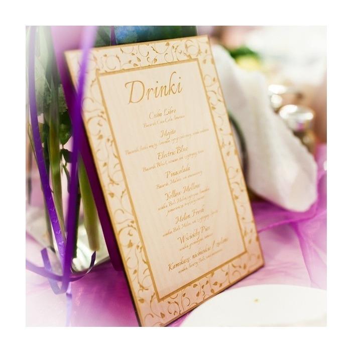 Grawerowane menu weselne