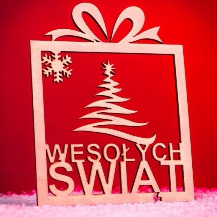 Świąteczna ozdoba ze sklejki prezent